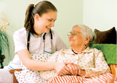 Nurse caring for a patient
